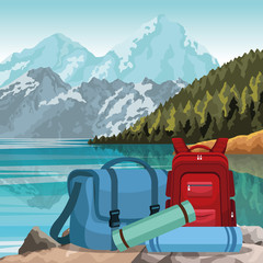 Poster Blauw travel backpacks over beautiful lake and mountains landscape background