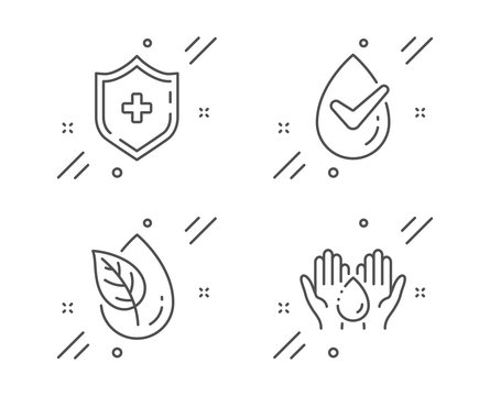 Dermatologically tested, Medical shield and Organic product line icons set. Wash hands sign. Organic, Medicine protection, Leaf. Skin care. Healthcare set. Vector