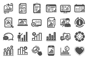 Graph icons. Set of Chart presentation, Report, Increase growth graph icons. Analytics testing, Falling demand, Pie chart report. Calendar statistics, Stats. Ab testing, Increase sales. Vector