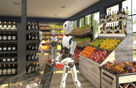 A humanoid robot with a shopping trolley is shopping at a grocery store. Future concept with robotics and artificial intelligence. 3D rendering.