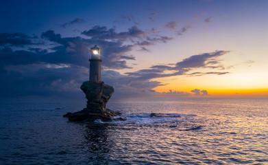 The beautiful Lighthouse Tourlitis of Chora in Andros island, Cyclades, Greece