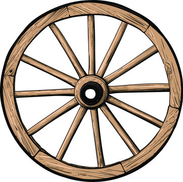 old classic wooden wheel from cart or stagecoach color isolated on white background