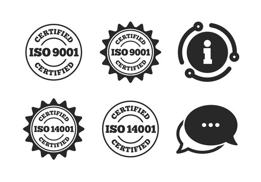 Certification star stamps symbols. Chat, info sign. ISO 9001 and 14001 certified icons. Quality standard signs. Classic style speech bubble icon. Vector