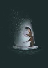 little girl with the polar bear on the ice floe