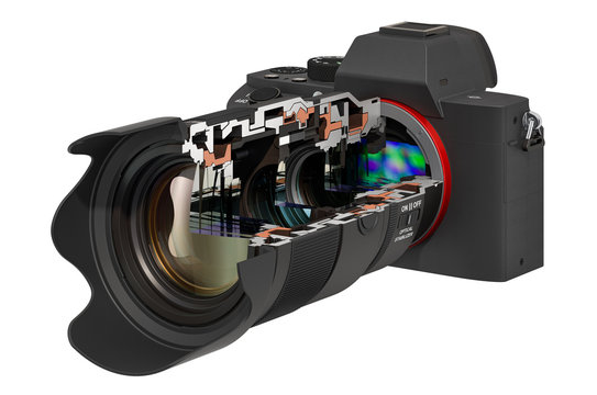 Sectional of mirrorless digital camera with zoom lens, 3D rendering