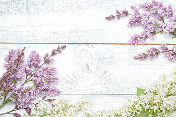 Spoed Fotobehang Lilac Lilac and white lilac branches on a gray wooden background