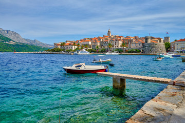 Photo Stands Old building Croatia, island of Korcula view of the city of Korcula