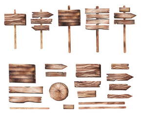 Hand drawn wooden pointers, plates, boards, direction indicators, cut wood watercolor illustration in rustic style. Isolated wooden decorative elements for invitations, wedding, greeting cards and DIY