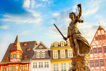 Old town square Romerberg with Justitia statue in Frankfurt Main, Germany with blue sky Fotomurales
