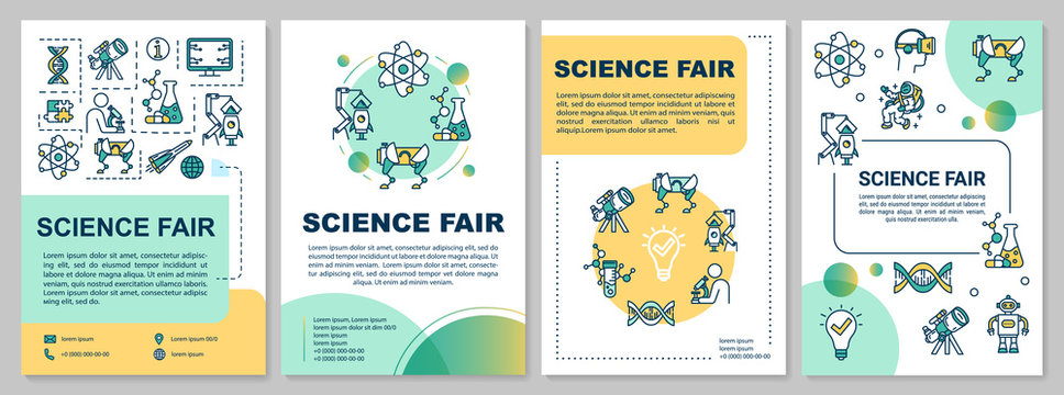 Science fair brochure template. University research. Flyer, booklet, leaflet print, cover design with linear icons. Vector page layouts for magazines, annual reports, advertising posters