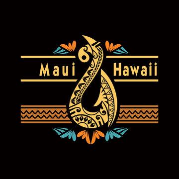 Maui Hawaii Motive, Hawaii tail fish vector