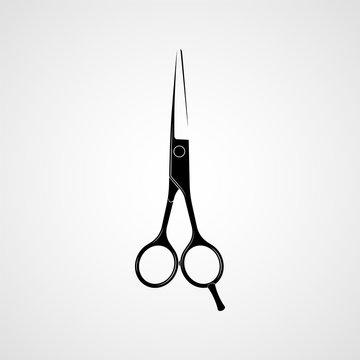 Hairdressers professional scissors black silhouette. Vector
