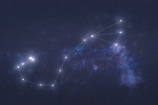 Scorpio Constellation stars in outer space. Zodiac Sign Scorpio constellation lines. Elements of this image were furnished by NASA