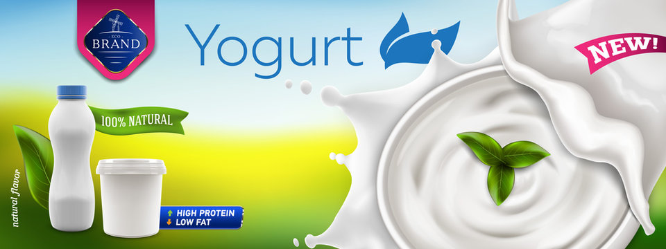 Natural Greek and drink Yogurt ads banner with bowl of cream in milk splash and blank packaging containers, 3d vector illustration of yogurt bottle and jar ready for branding and product promotion