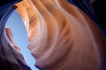 Foto op Canvas Antilope Antelope slot canyon looking into the skies
