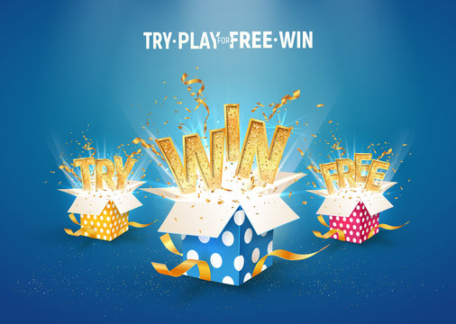 Open textured gift boxes with confetti explosion inside and win, try and free gold words on blue background. Set of isolated vector giftboxes for gambling or leisure games