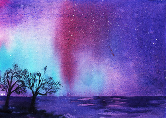 Northern Lights. Night landscape with stars in the blue, purple and blue sky. Watercolor illustration