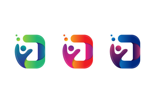 set of logo template with concept letter D (initial D), human (people), and bubble. modern gradient color.