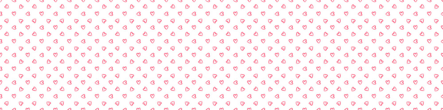 Hand drawn holiday background with abstract hearts. Seamless light wallpaper. Pattern for design. Valentine's day