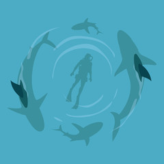 Shark and scuba diver on top view cartoon vector illustration