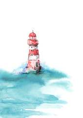 Watercolor illustration of lighthouse. Red and white colors, sea landscape. Art illustration, greeting card. Beautiful tower.lighthouse in the ocean with great waves.Hand drawn watercolor illustration