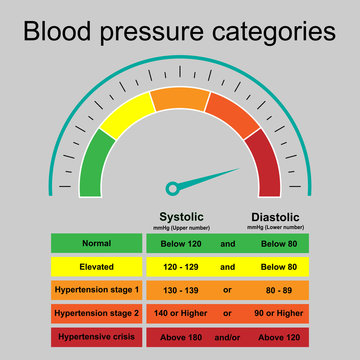 Table of blood pressure categories infographic with speedometer show hypertensive crisis isolated on grey background.Stage of hypertension disease.Concept for medical health care.Vector.Illustration.
