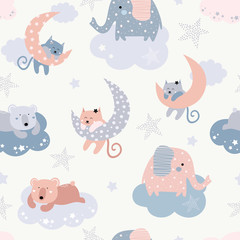 Deurstickers Bestsellers Kids Cute seamless pattern with cats, elephants, bears