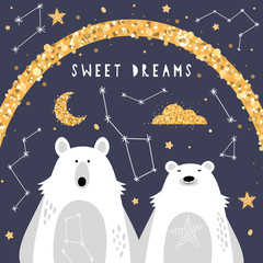 Deurstickers Bestsellers Kids Cute greeting card with polar bears.