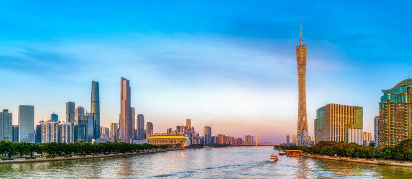 Guangzhou City Modern Architecture Landscape Skyline