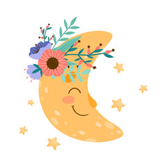 Cute Smiling Crescent with Flowers Attached to its Body Vector Illustration