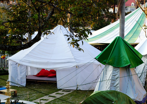 self travel with white tent, outdoor camp at Da Lat city, Vietnam