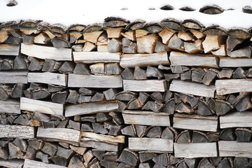 Aluminium Prints Firewood texture stacking fire wood in the back yard after snow