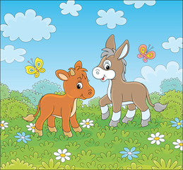 In de dag Pony Small donkey and a little calf walking among white and blue flowers on green grass of a summer field on a beautiful sunny day, vector cartoon illustration