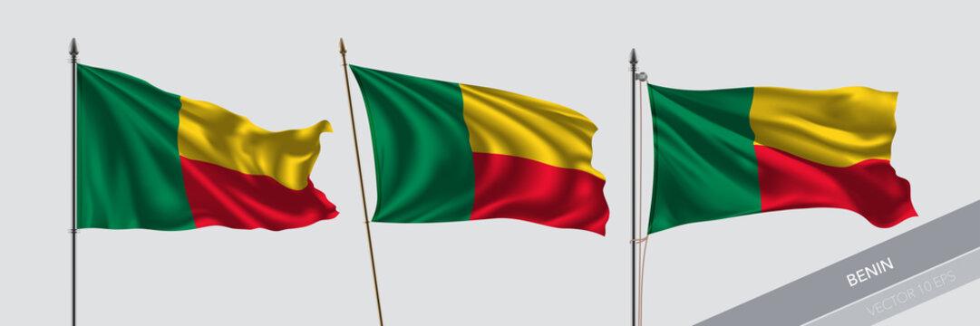 Set of Benin waving flag on isolated background vector illustration