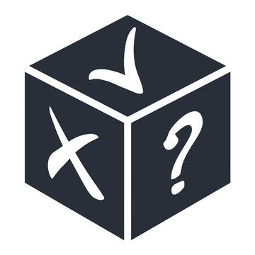 Dice. Yes, no, the obscurity. Vector icon on a white background.