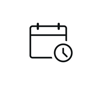 calendar clock trendy icon vector symbol