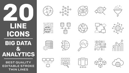 Set of big data and data analytics icon set. Related technology vector line Icons. Contains such Icons as Cloud Computing, Traffic Analysis, Big Data, IoT and more. Editable Stroke. EPS 10
