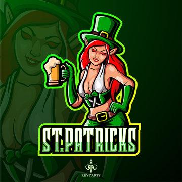 St. patrick's female leprechaun esport logo design