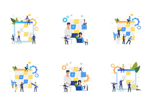 Set of people working with planning boards. Flat vector illustrations of employees sticking notes on Kanban board, working on laptop. Business concept for banner, website design or landing web page