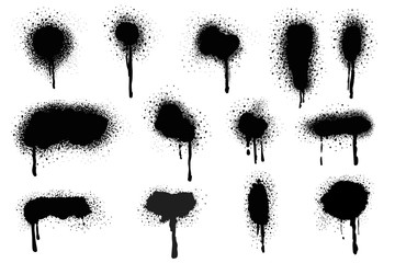 In de dag Vormen Spray Paint Vector Elements isolated on White Background, Lines and Drips Black ink splatters, Ink blots set, Street style.
