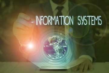 Conceptual hand writing showing Information Systems. Concept meaning study of systems with a exact reference to information Elements of this image furnished by NASA Wall mural