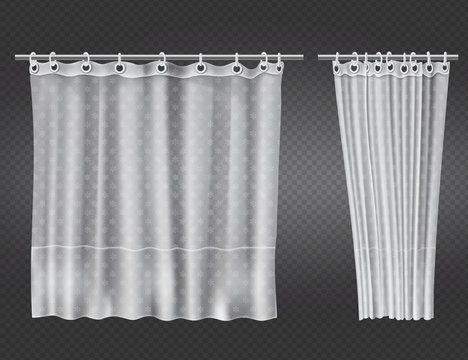 White clear shower curtains with flowers pattern isolated on transparent background. Vector realistic mock up of open and closed blank draped bathroom curtains hanging on plastic rings and metal rod