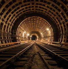 Technical subway tunnel underground photo