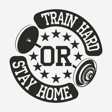 T-shirt with a barbell. Stop saying tomorrow. Fashionable fitness t-shirt. Gymnastic emblem. Vector.