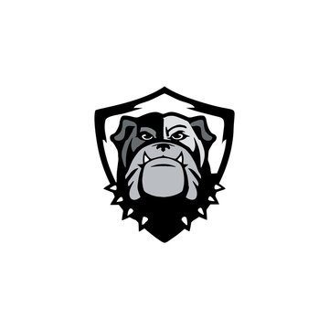 logo design of guard dog vector. pitbull design