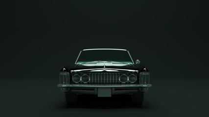 Powerful Black Gangster Luxury 1960's Style Car 3d illustration 3d render