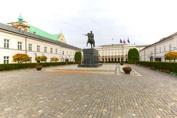 Presidential Palace, neoclassical monumental edifice on the street Krakowskie Przedmiescie, Warsaw,...