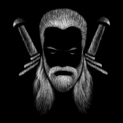 This is a vector drawing of a man with white or gray long hair. He has a mustache and a beard. This is a strong warrior.
