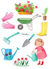 Watercolor illustration. Collection of pictures on the theme of the garden.