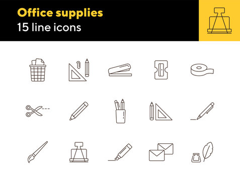 Office supplies icon set